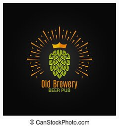 brewery logo with hop and crown on black background 8 eps