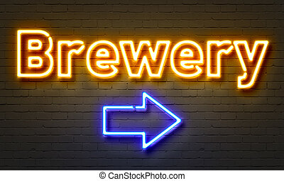 Brewery neon sign on brick wall background.