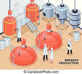 Brewery Production Isometric Illustration
