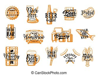 Brewery pub, beer drinks and snacks icons