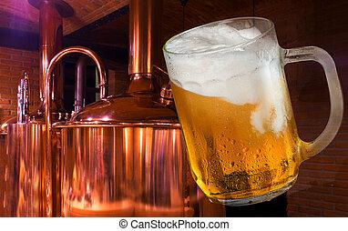 brewery., vidro, cerveja