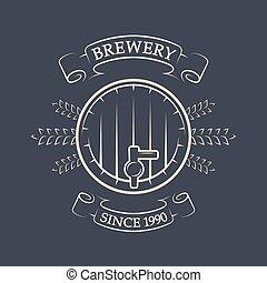 brewing., 型, keg., emblem., ビール, 技能