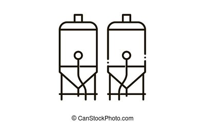 Brewing Barrels Icon Animation. black Brewing Barrels animated icon on white background