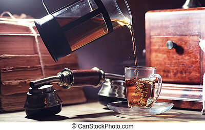 Brewing tea on a wooden table