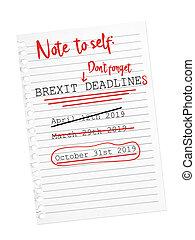 brexit, 10 月, シート, paper., 引き裂かれた, メモ, deadline., メモ