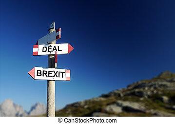 brexit, affare, scritto, su, strada montagna, segno., cima, il, ordine del giorno, concept., montagne, in, fondo.