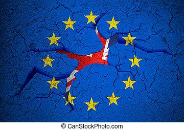 brexit blue european union EU flag on broken crack wall with...