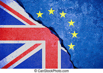 brexit blue european union EU flag on broken wall and half...