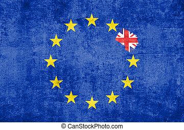 brexit blue european union EU flag on grunge texture with...