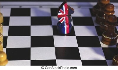 Brexit chess confrontation - Brexit, chess figures British...