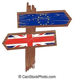 Brexit concept. Arrow of England flag versus an arrow of European flag.
