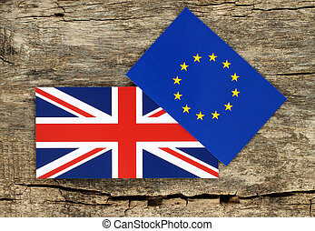 Brexit concept, blue european union EU and Great Britain flags