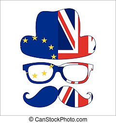 Brexit concept. British invisible man with two flags - EU and UK