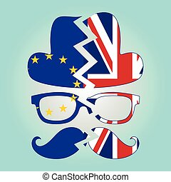 Brexit concept. British invisible man with two torn flags - EU and UK