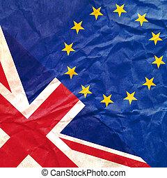 Brexit concept. England flag versus an European flag. Image ...