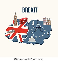 Brexit concept. Flags of the United Kingdom and the European Union on cracked map background. Possible exit of Great Britain from the EU. Symbols of London and continental Europe. Vector illustration.