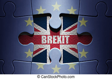 Brexit concept - Missing piece from a jigsaw puzzle ...