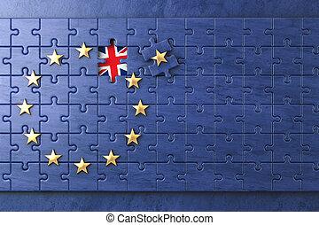 brexit, concept., problem, med, eu, europeisk sammanslagning flagga, utan, storbritannien, uk, star.