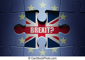 Brexit concept puzzle - Missing piece from a European jigsaw...