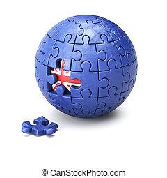 brexit, concept, raadsel, bol