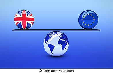 Brexit Concept UK And EU Flag Balance
