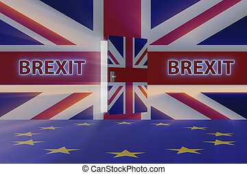Brexit concept - UK leaving UE - 3d rendering