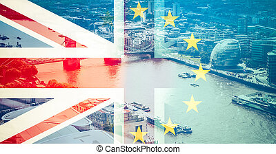 brexit concept - Union Jack flag and EU flag combined over ...