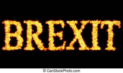 brexit, concept, woord, burning, tekst, zwarte achtergrond