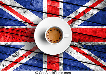 brexit cup of coffee with european union EU flag on grunge wood great britain uk flag