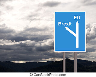 Brexit, EU road sign against cloudy sky. Concept, politics UK.