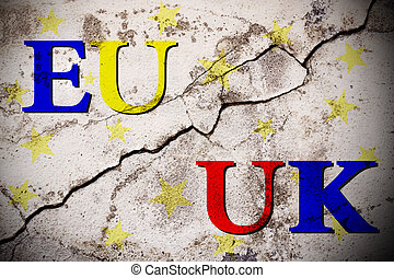 Brexit european and uk text on broken wall. vote for united...