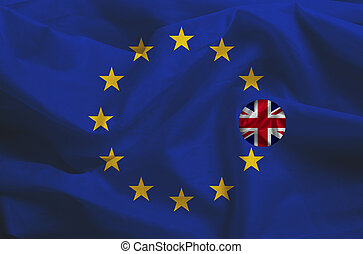 Brexit - European Union Flag Drapery With Great Britain Leaving