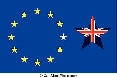 Brexit Exit - Representation of the United Kingdom breaking...