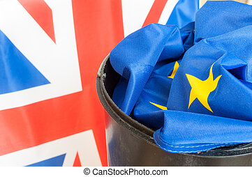 Brexit - Flag of European Union in Dustbin with the Flag of ...