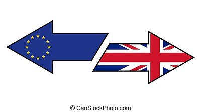 Brexit. Flags of Great Britain and European Union on the arrows showing different directions.