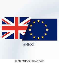 brexit, fogalom, háttér, noha, uk, és, eu, zászlók