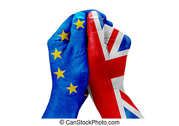 brexit, hand patterned with the flag of the blue european union EU and one hand patterned with the flag of the great britain, united kingdom
