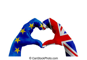 brexit, hands of man in heart shape patterned with the flag of blue european union EU and flag of great britain uk on the white background