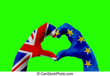 brexit, hands of man in heart shape patterned with the flag of blue european union EU and flag of great britain uk on chroma key green screen background
