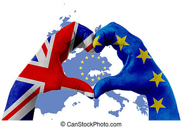 brexit, hands of man in heart shape patterned with the flag of blue european union EU and flag of great britain uk on europe map with yellow stars background
