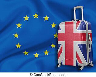 Brexit illustration. British baggage with EU flag behind. -...