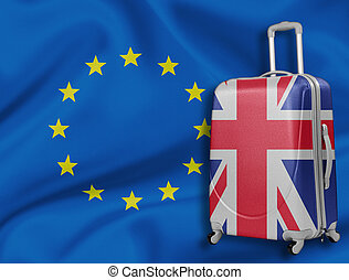Brexit illustration. British baggage with EU flag behind. - ...
