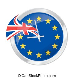 BREXIT illustration of clock face with EU and UK flags