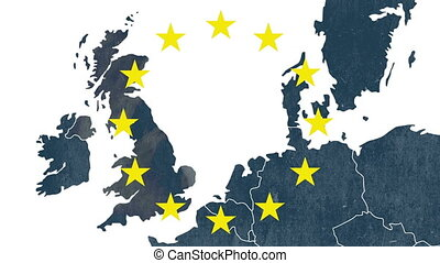 Brexit, map, west of European Union - Map of west of...