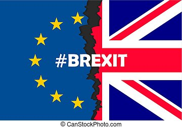 brexit, parties, drapeaux, deux, hashtag