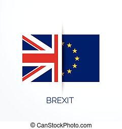brexit, referensum, noha, uk, és, eu, zászlók
