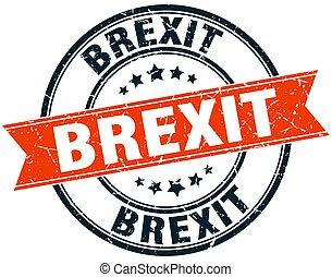 brexit round grunge ribbon stamp