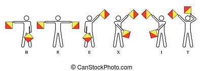 Brexit Semaphore - Semaphore flags spelling out Brexit,...
