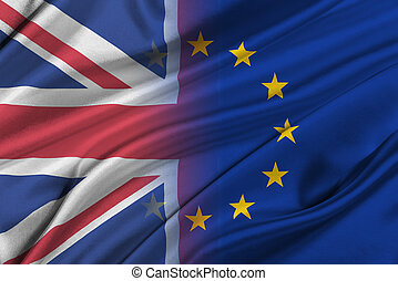 Brexit - Silky Flags of European Union and United Kingdom. -...