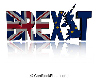 Brexit text British Eu flag - Brexit text with British and ...